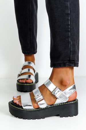 Silver Chunky Flatform Sandals DLSB Womens Fashion