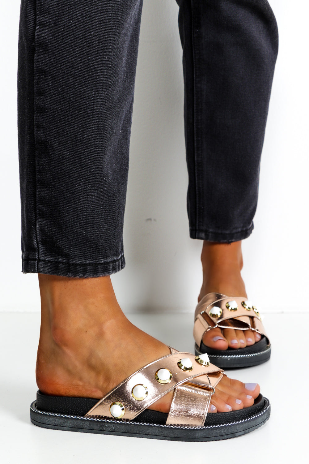 Champagne Cross Over Strap Sliders DLSB Womens Fashion