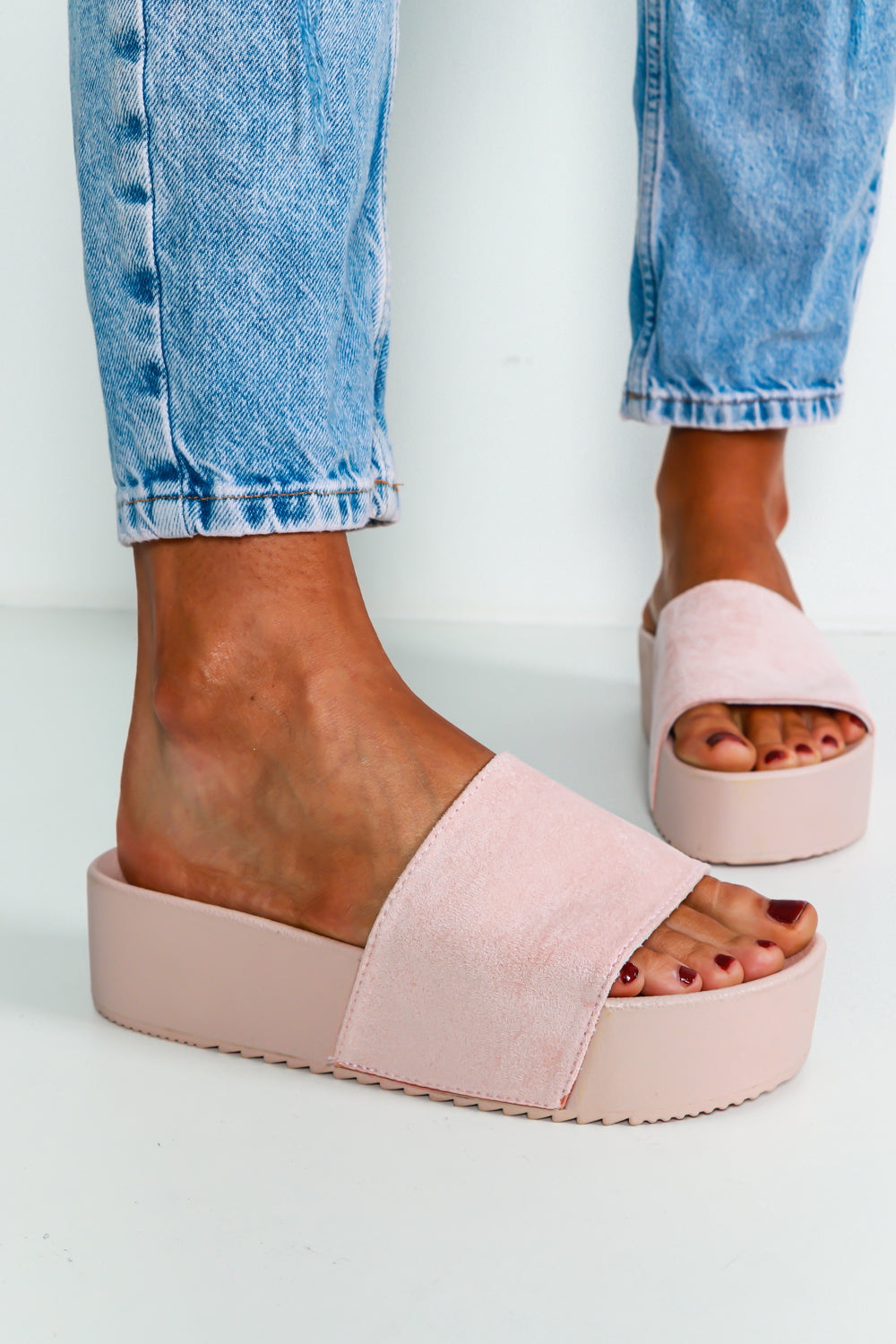 Slide By Slide - Flatform Sliders In PINK/SUEDE
