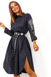 For Feather And A Day - Black Sequin Feather Arm Shirt Dress