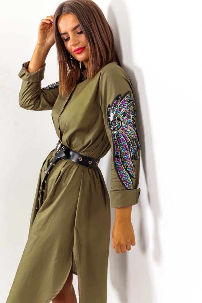 For Feather And A Day - Khaki Sequin Feather Arm Shirt Dress