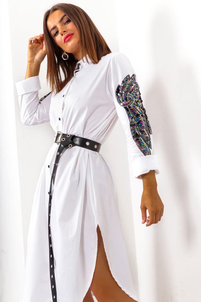 For Feather And A Day - White Sequin Feather Arm Shirt Dress