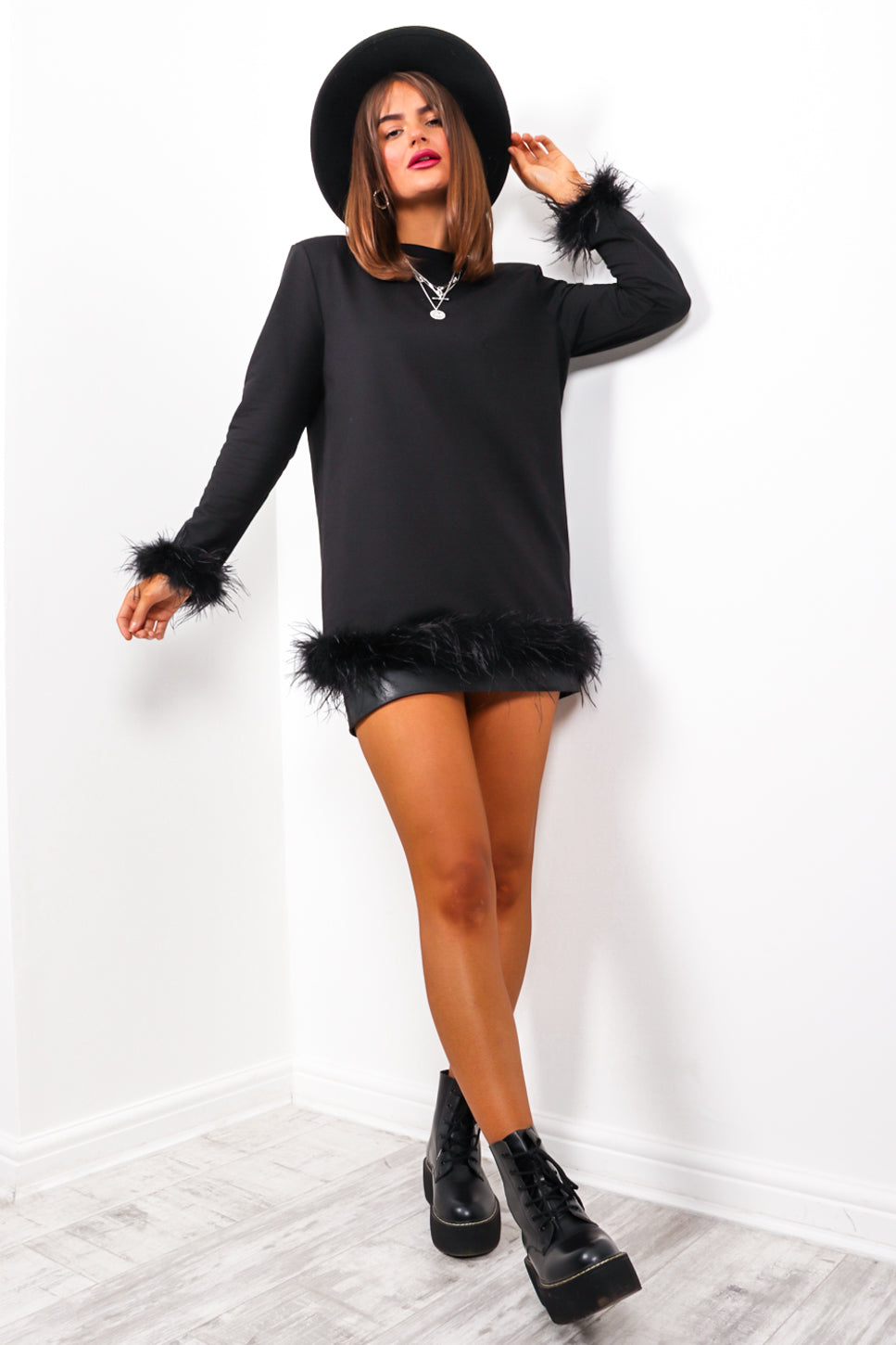 Forever Feathers - Black Feather Trim Top