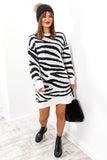 Forever Wild - White Zebra Print Jumper Dress