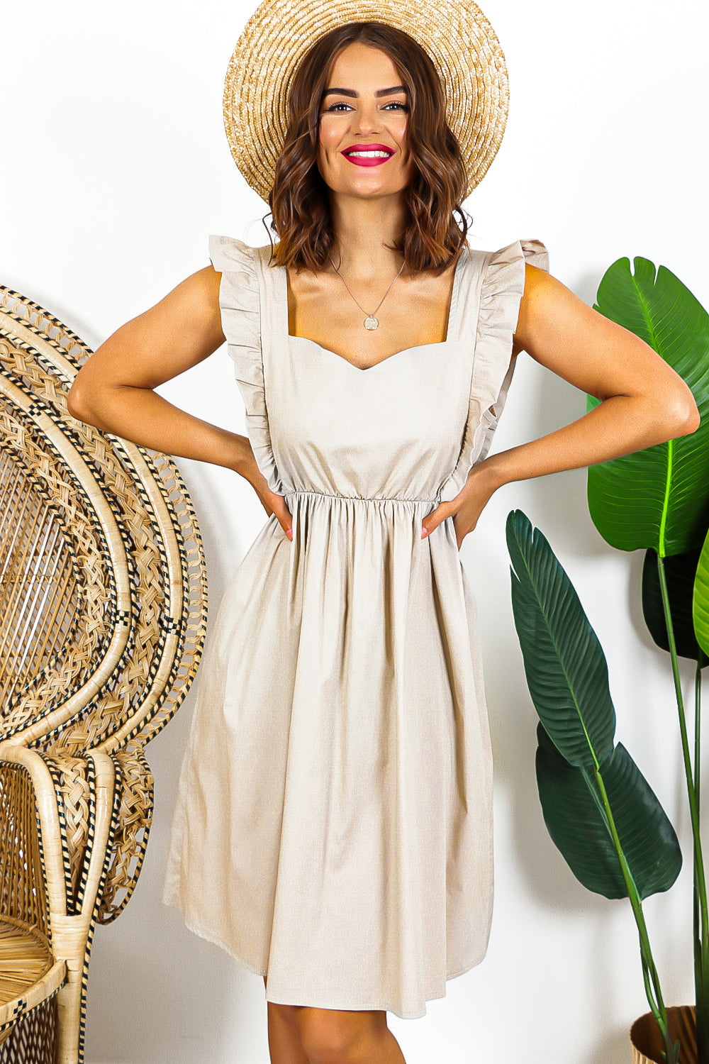 Beige Ruffled Sleeveless Midi Dress