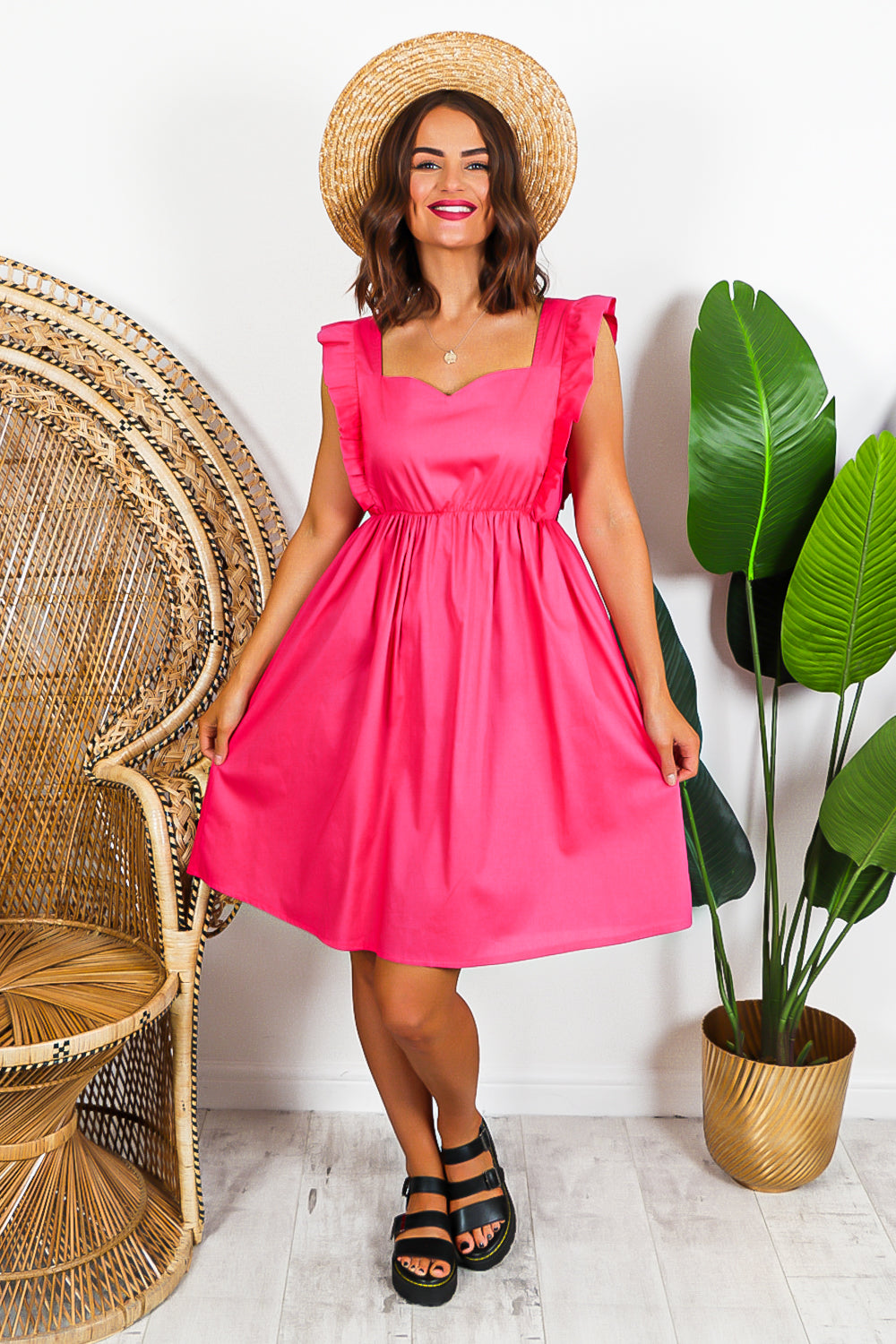 Hot Pink Ruffled Sleeveless Midi Dress
