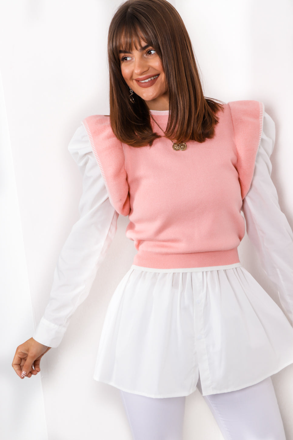 Frill On Top - Pink Knitted Top