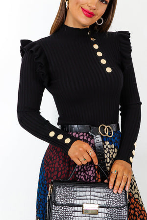 Frill Power - Black Gold Button Ribbed Knitted Jumper