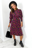 Fuchsia Multi Floral Midi Dress