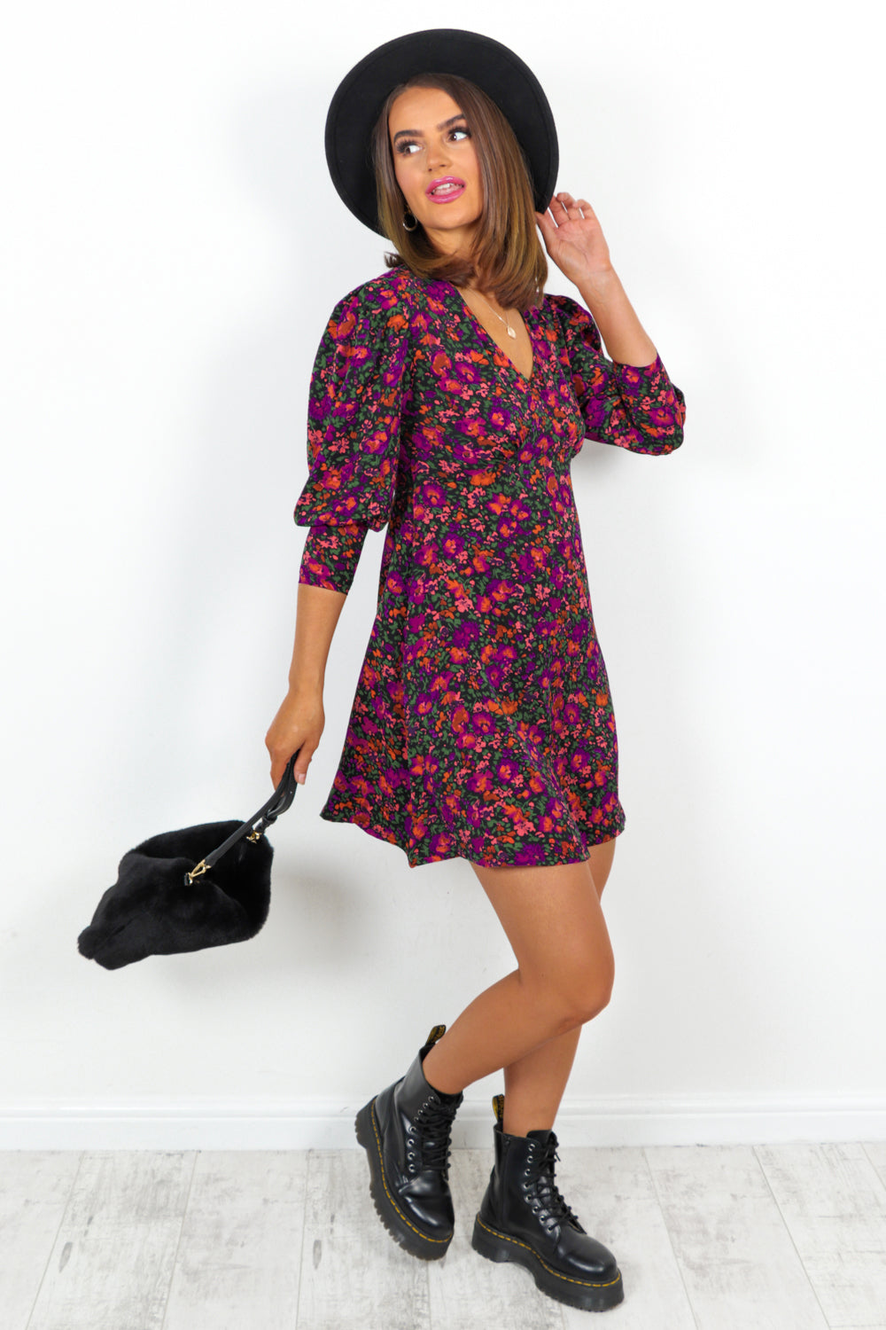 Fuchsia Multi Floral Mini Dress
