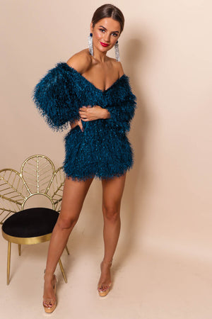 Fuzzy Feelings - Dress In TEAL