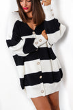Get Stripe To It - Black White Striped Cardigan