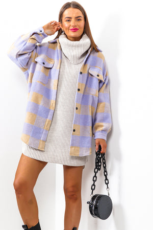 Girl On Tour - Lilac Beige Check Shacket