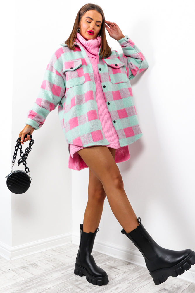 Girl On Tour - Mint Pink Check Shacket