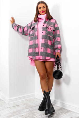 Girl On Tour - Pink Grey Check Shacket