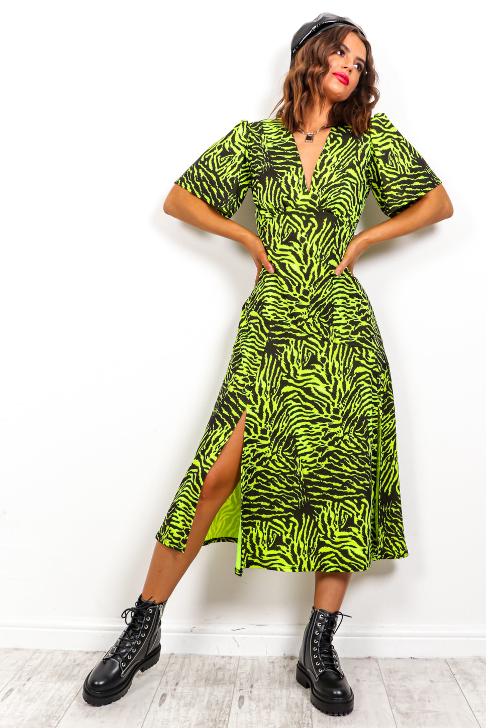 Girls Gone Wild - Neon Green Zebra Midi Dress