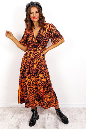 Girls Gone Wild - Neon Orange Zebra Midi Dress