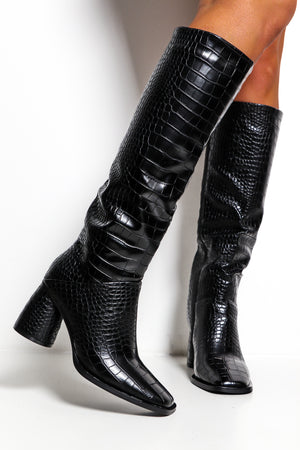 Glam Croc - Black Croc Boot
