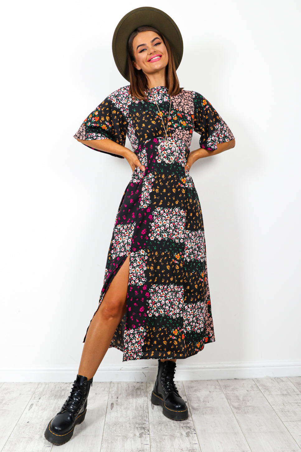Good Growing - Black Multi Floral Print Midi Dress