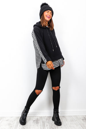 Good In The Hood - Black Houndstooth 2 In 1 Shacket Hoodie