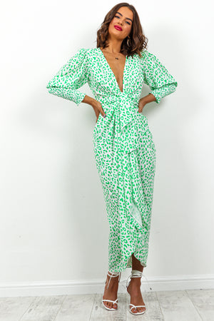 Green Leopard Print Multi Wrap Midi Dress DLSB Womens Fashion
