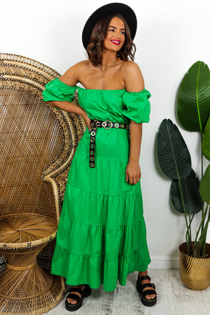 Green Tiered Maxi Dress DLSB Womens Fashion