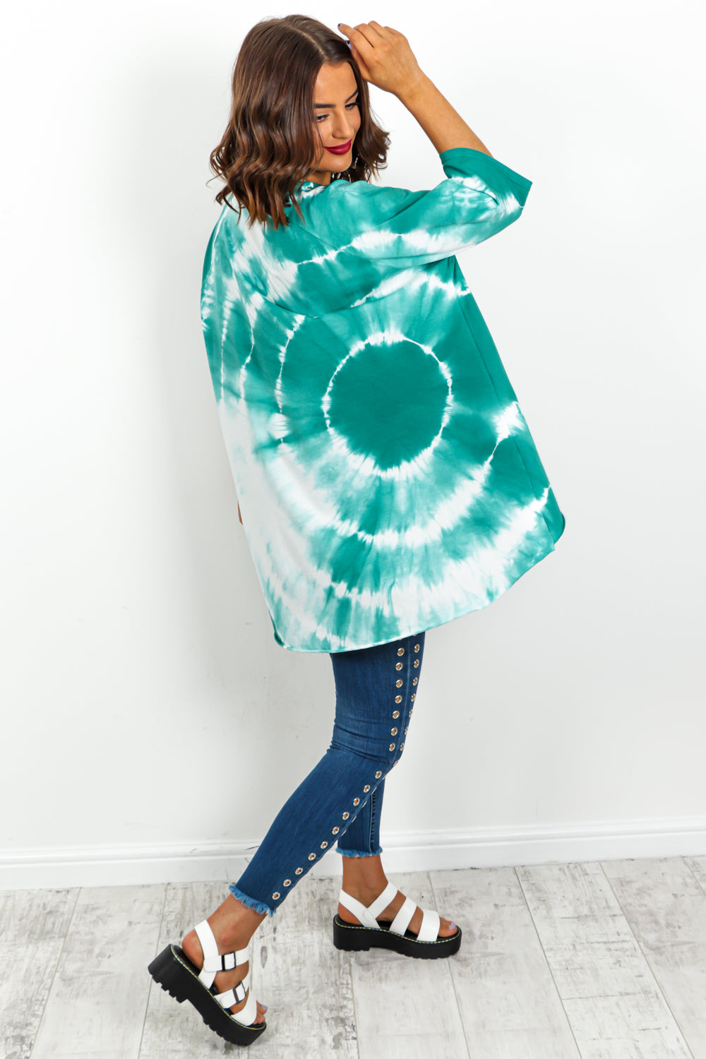 Green Tie Dye High Low Hem T-Shirt DLSB Womens Fashion