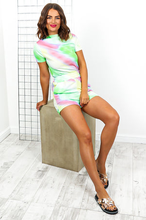 Green Tie Dye Top And Short Coordinate Set