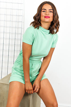 Mint Green Top And Short Coordinate Set