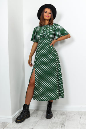 Green White Polka Dot Print Midi Dress