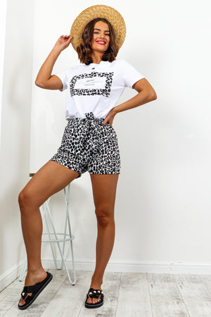 Black Leopard Print T-Shirt And Shorts Co ordinate Set DLSB Womens Fashion