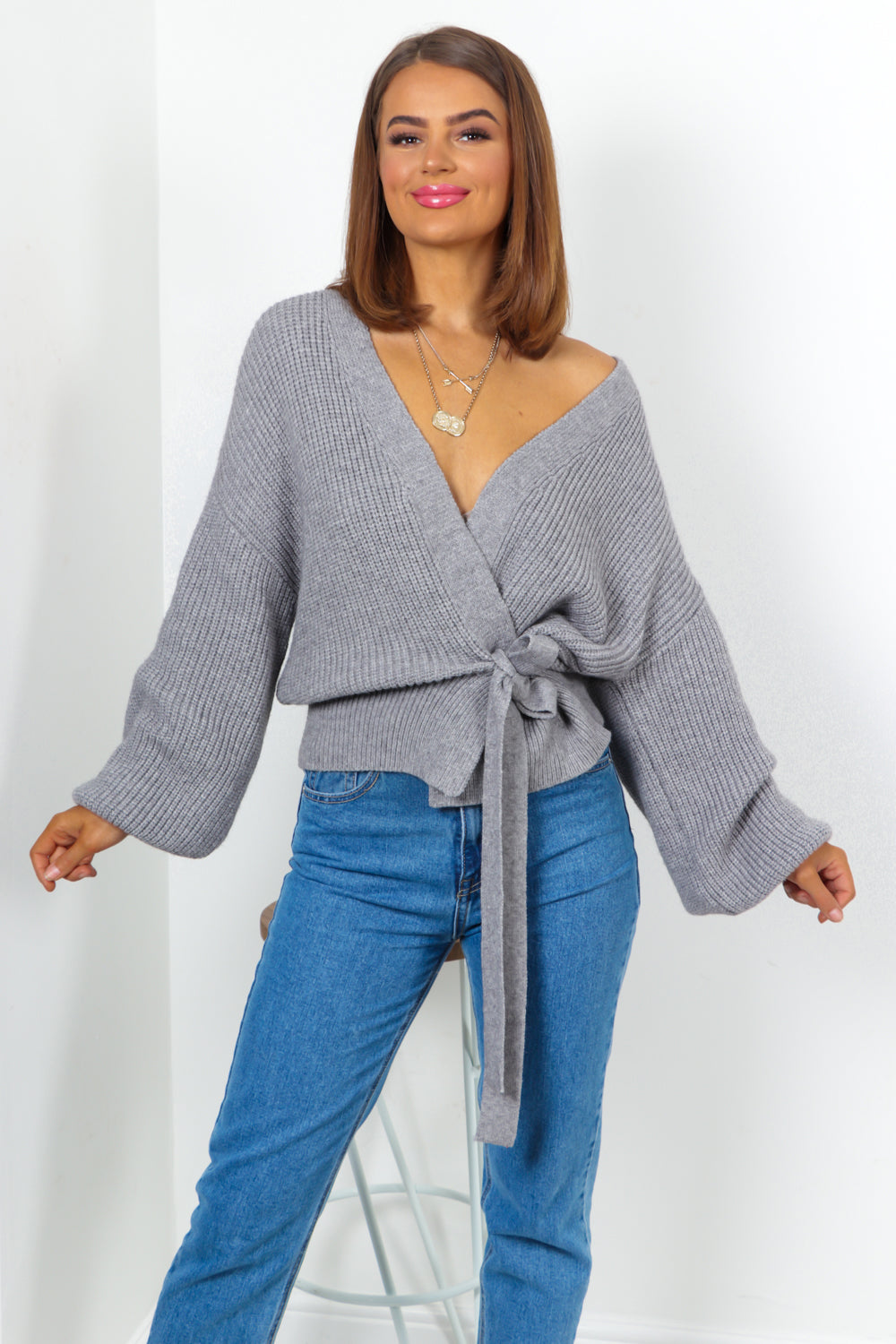 Grey Cropped Knitted Cardigan