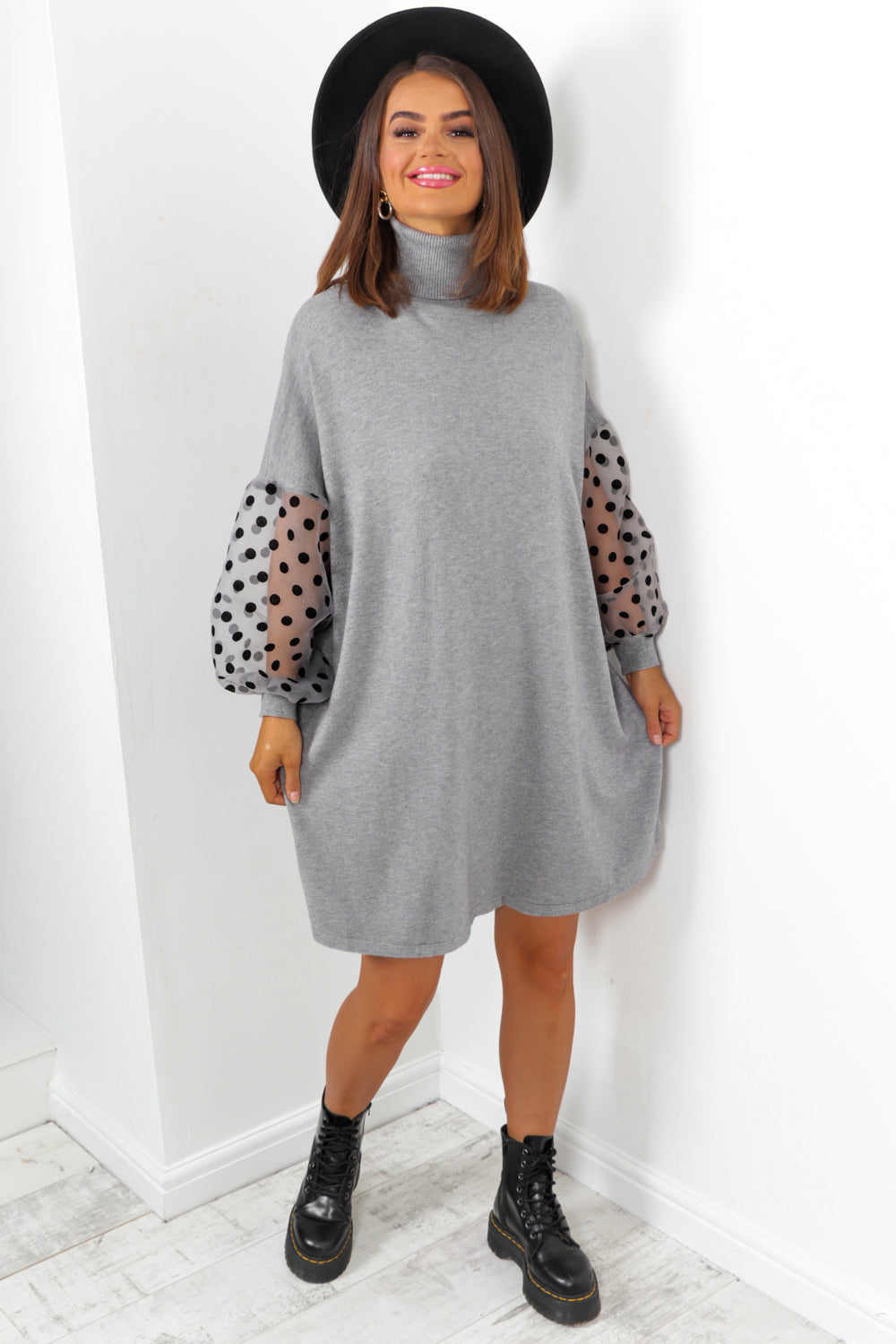 Grey Mesh Polka Dot Sleeve Roll Neck Knitted Dress
