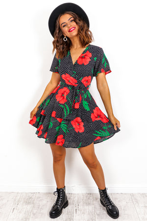 Grow With The Flow - Black Red Floral Layered Mini Dress
