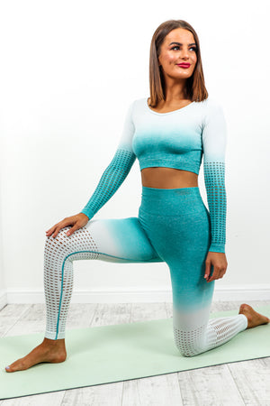 Teal Ombre Coordinate Gym Set DLSB Womens Fashion