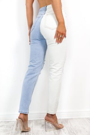 Half It - Blue White Spliced Jeans