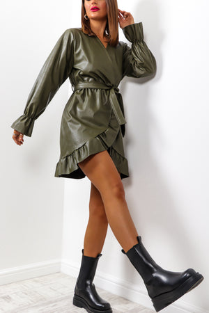 Happy Leather After - Khaki Frill Mini Dress