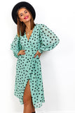 He Loves Me, He Loves Me Spot - Mint Spot Midi Wrap Dress