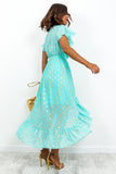 Aqua Blue Gold Spec High Low Midi Dress DLSB Womens Fashion