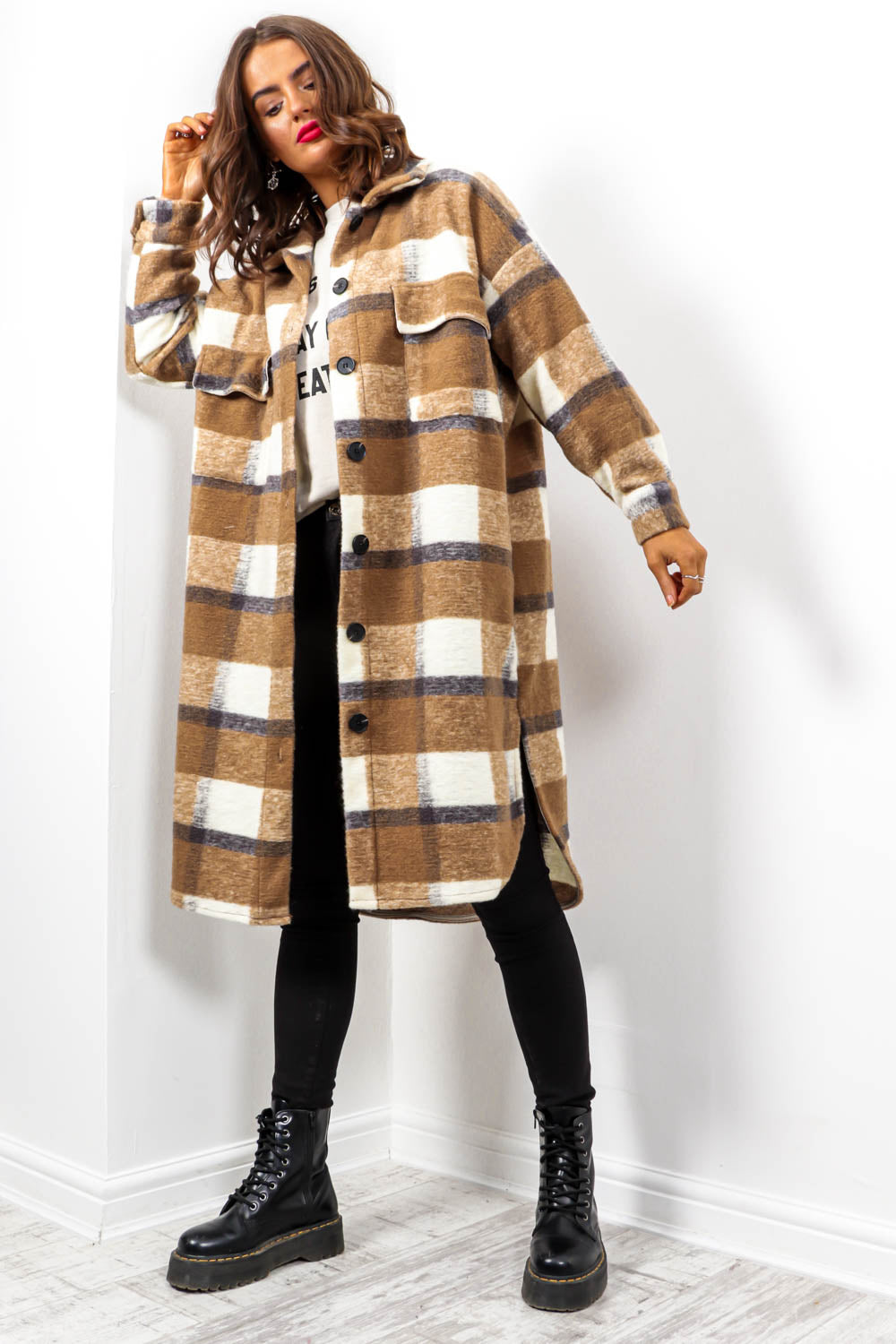 Hint Of Autumn - Camel Multi Check Long Shacket