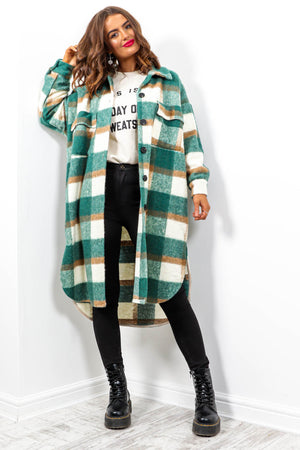 Hint Of Autumn - Teal Multi Check Long Shacket