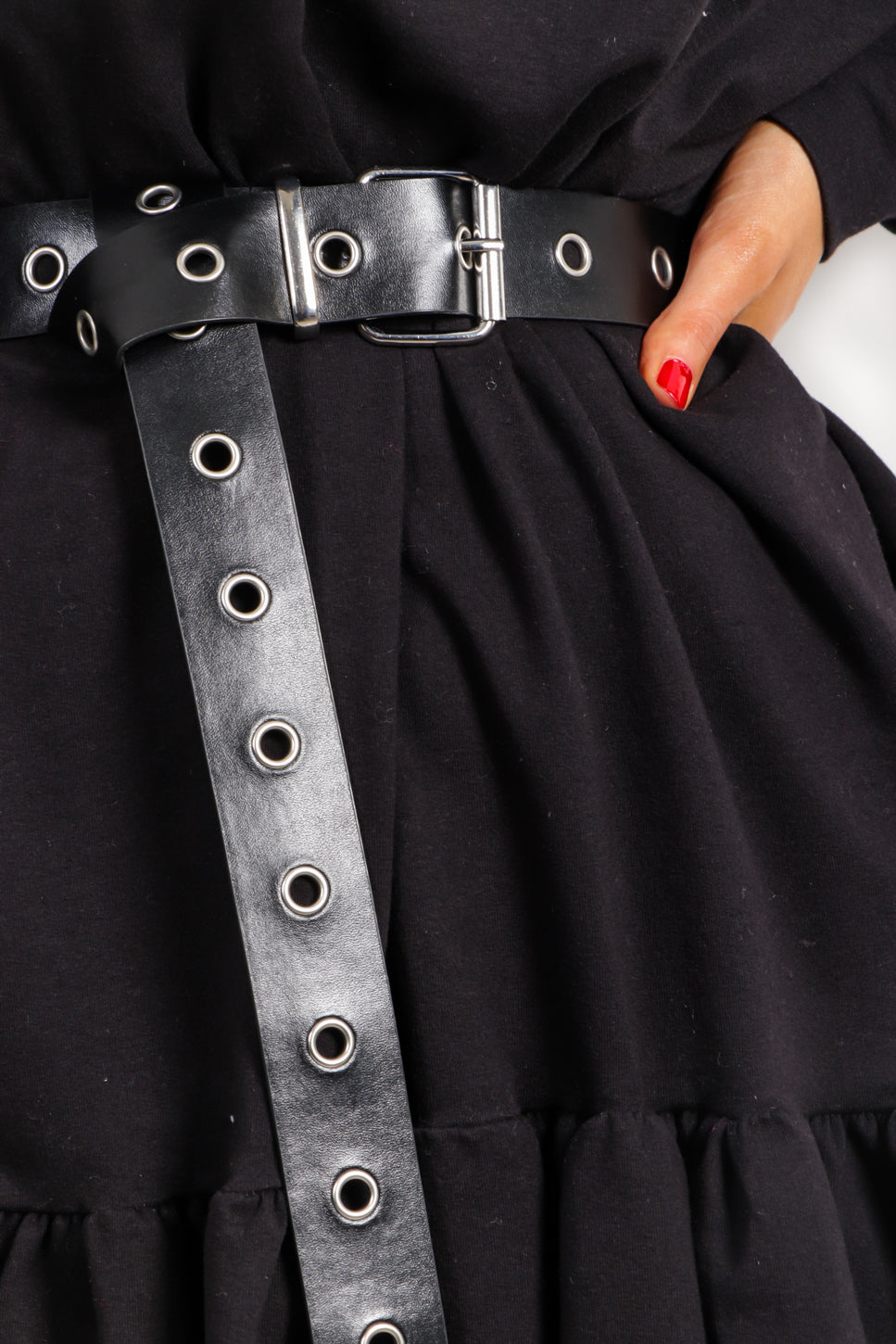 Hole Lot Of Fun - Black Silver Eyelet Belt