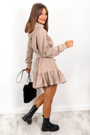 Hood Girl - Beige Frilled Hoodie Dress