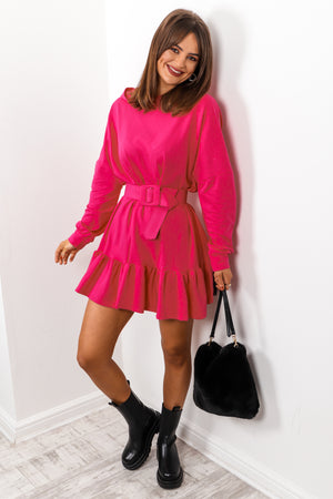 Hood Girl - Hot Pink Frilled Hoodie Dress