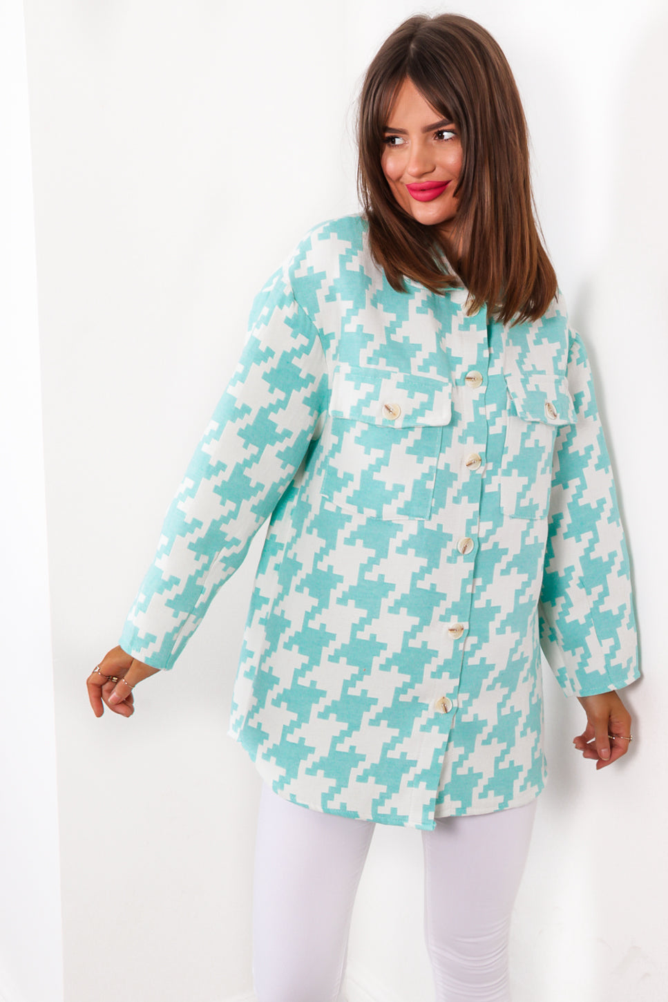 Hounds About Right - Mint Houndstooth Shacket