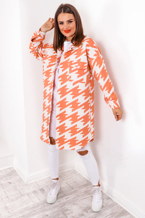 Hounds Like A Plan - Orange Longline Shacket