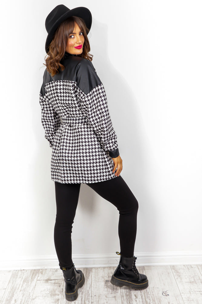 How Deep Is Your Love - Black White Houndstooth Shacket