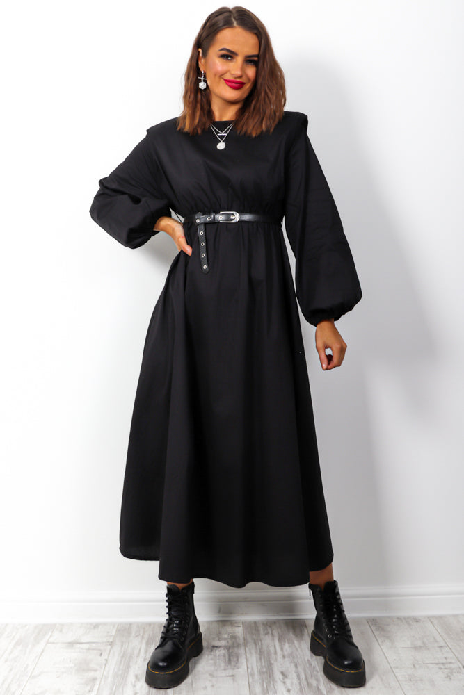 I Can't Belt Myself - Black Belted Midi Dress