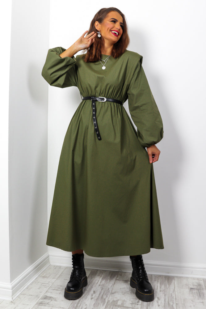 I Can't Belt Myself - Khaki Belted Midi Dress
