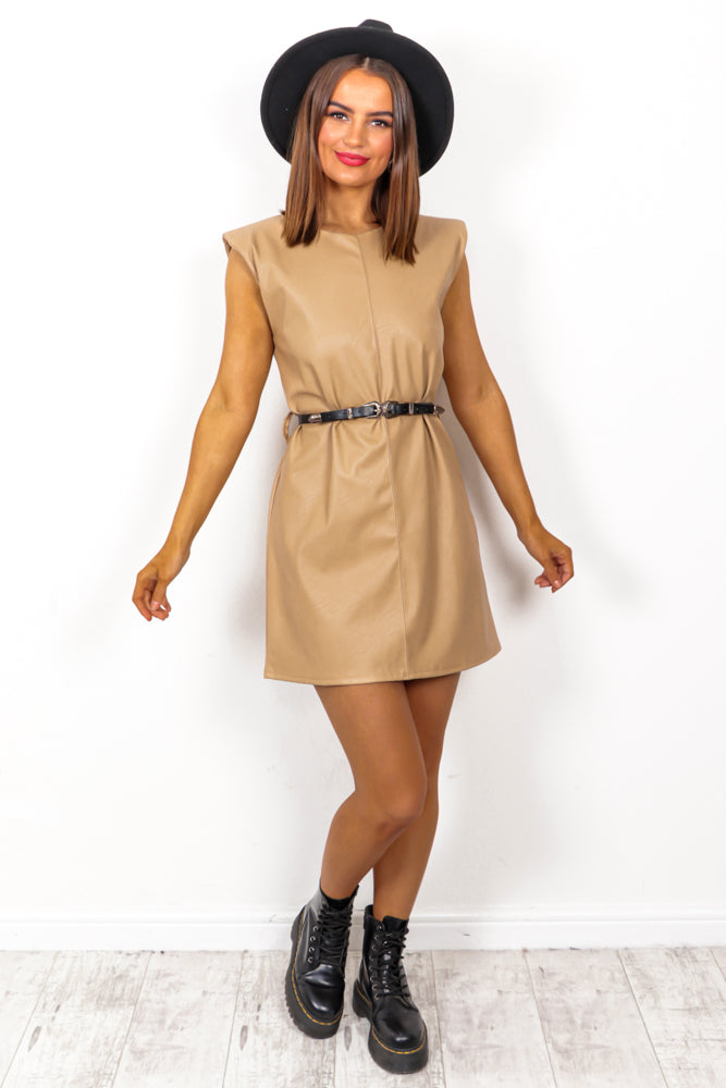 I Could Leather Be Your Woman - Beige Leather Mini Dress With Belt